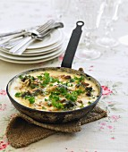Frittata with broccoli and pine nuts