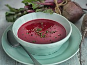 Beetroot soup with chives