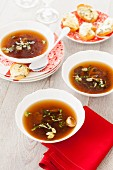 Mushroom broth with Stilton croutons for Christmas