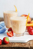 Nectarine, banana and strawberry smoothies