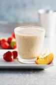 A strawberry, nectarine and banana smoothie