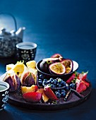 A fruit platter with lime syrup for Chinese New Year (Asia)