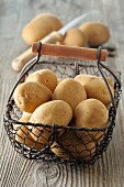 Potatoes in a wire basket