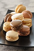 Various macaroons on a platter