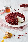 Cream cheese cake with dried cranberries and honey