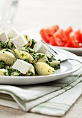 Shell pasta with pesto and feta cheese