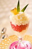 Pineapple and raspberry granita