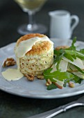 Comté soufflé with pears, walnuts and rocket