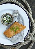 Fried halibut with a caper sauce