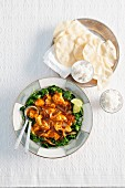 Tandoori fish with spinach and popadoms