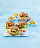 Hamburgers with spring onions, peppers and cashew nuts
