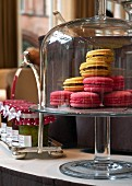 Macaroons and jars of jam in a restaurant