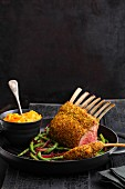 Rack of lamb with a ras el hanout crust and beans