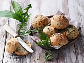 Herb quark rolls in a wooden dish