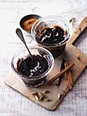 Cold stirred plum compote with pu-erh tea