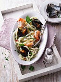 Herb linguine with fresh seafood