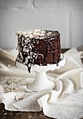 Chocolate and coconut cake on a cake stand