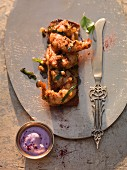 Prawn tikka with purple curry yoghurt