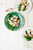 Potato salad with smoked mackerel and rocket