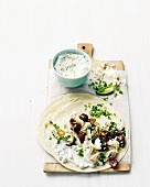 Chicken wrap with olives and feta cheese