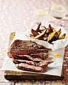 Beef steak with sweet potato wedges