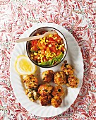 Tuna fish balls with sweet corn salsa