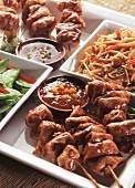 Oriental food on a tray