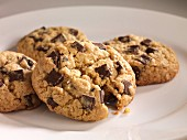 Four chocolate oat cookies