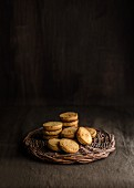 Biscuits on a wicker plate