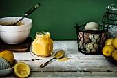 Lemon curd and ingredients