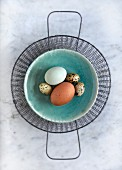 Hen's eggs and quail's eggs in a bowl