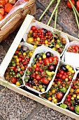 Colourful mini tomatoes in a wooden crate