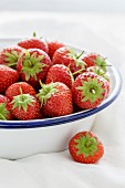 Strawberries in an enamel bowl