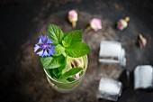 Eistee mit frischer Minze, Eiswürfeln, getrockneten Rosen und Kornblume