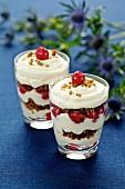 Desert with cherries and quark cream