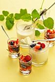 White chocolate cream with marinated berries