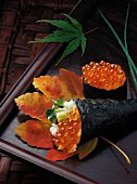 Sushi with salmon roe