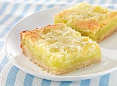 Key Lime bars with grated coconut