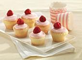 Lemon cupcakes with a raspberry glaze