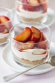 Plum and yoghurt desserts