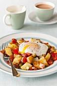 Egg Over Potatoes; Fork