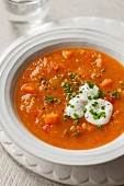 Red lentil soup with peppers and carrots