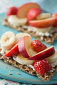 Strawberry and banana on crispbread