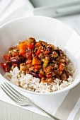 Vegetable chilli with rice