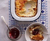 Rice pudding with clotted cream and homemade jam