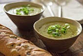 Asparagus soup with spring onions