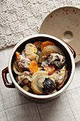 Czenaki (meat and vegetable stew from Eastern Europe) in a clay pot