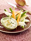 Gorgonzola dip served with vegetable sticks and pears