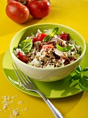 Tuna fish and tomato salad with basil
