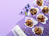 Mini banana and blueberry muffins